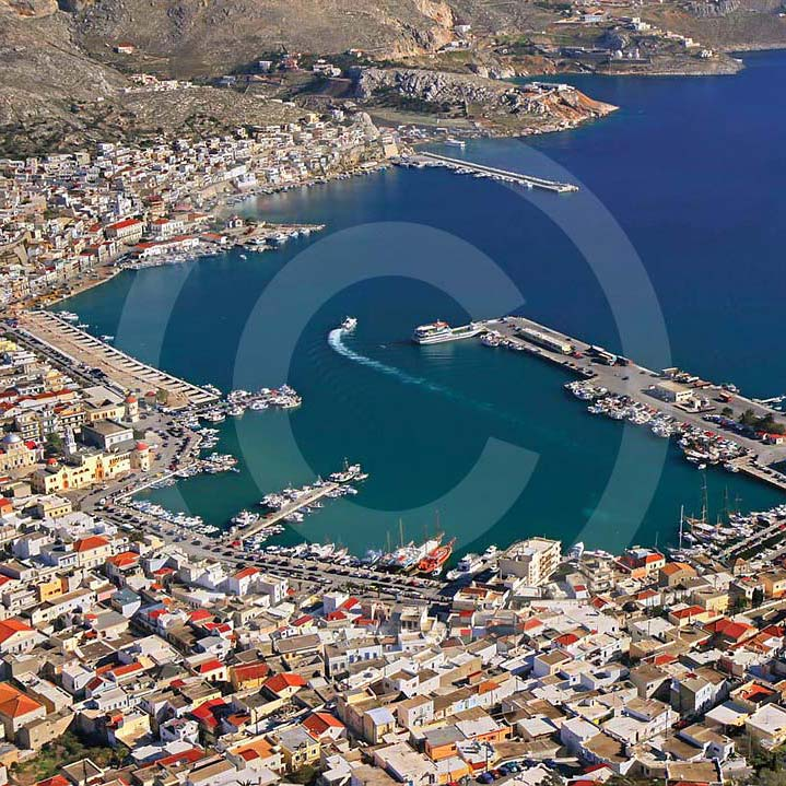 Kalymnos miasta i portu z lotu ptaka - Rejs na Kalymnos z bodrum