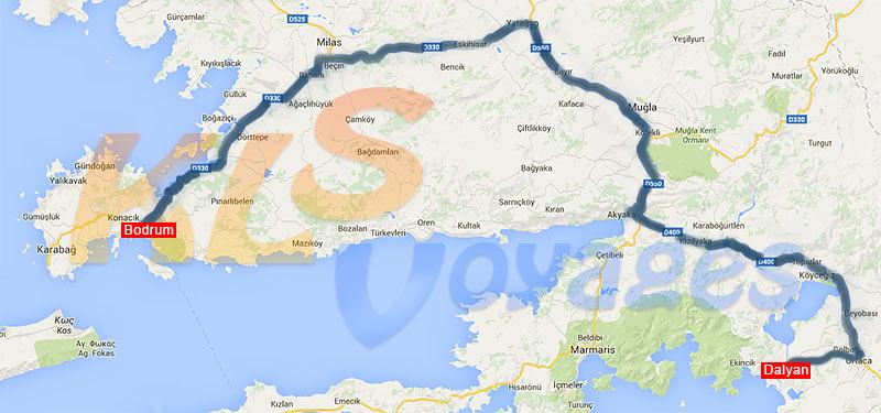 mapa trasy wycieczki dalyan z bodrum